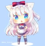 1girl american_flag american_flag_print animal_ear_fluff animal_ears apron azur_lane black_dress black_legwear blue_background blush bow cat_ears chibi commentary_request dress flag_print frilled_dress frills full_body grey_legwear hammann_(azur_lane) hands_on_hips kouu_hiyoyo long_hair looking_at_viewer one_side_up open_mouth print_neckwear puffy_short_sleeves puffy_sleeves red_bow short_sleeves silver_hair solo standing thigh-highs twitter_username very_long_hair waist_apron white_apron wrist_cuffs