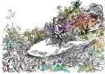 1girl clockwork commentary_request drill_hair flower gears highres kasane_teto ke_hare_kegare leaf lineart machinery miniskirt plant shirt short_hair skirt sleeveless sleeveless_shirt solo standing twin_drills utau white_background wide_shot