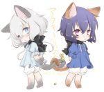 2girls animal_ears black_hair blush cat_ears cat_tail chibi konno_junko long_hair mizuno_ai multiple_girls musukichi short_hair smile tail white_hair yuri zombie_land_saga