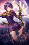 1girl arrow bernadetta_von_varley bike_shorts bow_(weapon) closed_mouth dress earrings fire_emblem fire_emblem:_three_houses gloves grass hair_ornament holding holding_arrow holding_bow_(weapon) holding_weapon jewelry kaijuicery long_sleeves purple_hair quiver short_dress short_hair solo tree weapon yellow_gloves