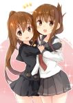 2girls :d bangs black_sailor_collar black_serafuku black_shirt black_skirt blush brown_eyes brown_hair commentary_request crescent crescent_moon_pin eyebrows_visible_through_hair folded_ponytail fumizuki_(kantai_collection) grey_sailor_collar grey_skirt hair_between_eyes hug inazuma_(kantai_collection) kantai_collection long_hair long_sleeves multiple_girls necktie open_mouth pink_background pleated_skirt ponytail red_neckwear sailor_collar school_uniform serafuku shirt skirt smile sou_(soutennkouchi) sparkle twitter_username two-tone_background very_long_hair white_background white_neckwear white_shirt