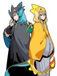2boys cape character_request charizard charizard_(cosplay) closed_mouth cosplay dragon_tail dragon_wings fire gintama hangleing hood hooded_cape japanese_clothes kimono long_hair long_sleeves looking_at_viewer male_focus multiple_boys pokemon red_eyes simple_background smile standing tail white_background wings