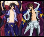 2boys :d bed_sheet black_footwear black_gloves black_hair black_shirt blue_pants boots brown_hair code_geass collarbone crossed_legs dakimakura from_above gloves green_eyes groin hand_in_hair jacket knee_boots kuon_yuu kururugi_suzaku legs_up lelouch_lamperouge looking_at_viewer lying male_focus midriff multiple_boys navel on_back open_clothes open_jacket open_mouth open_pants open_shirt pants print_shirt purple_pillow shiny shiny_hair shirt smile stomach towel towel_around_neck violet_eyes white_jacket white_pants white_pillow