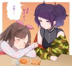 2girls bangs black_shirt bow brown_hair camouflage cup diagonal_bangs ear_piercing earrings eating eyebrows_visible_through_hair food fruit hair_bow hoop_earrings idolmaster idolmaster_shiny_colors jacket jewelry looking_at_another mandarin_orange multiple_girls off_shoulder open_clothes open_jacket otsuki38 piercing pink_bow ponytail purple_hair purple_nails see-through shirt short_twintails spoon sweater swept_bangs tanaka_mamimi thought_bubble tsukioka_kogane turtleneck turtleneck_sweater twintails violet_eyes