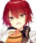 1girl arknights bangs blush brown_eyes character_request commentary_request eyebrows_visible_through_hair food gloves hair_between_eyes hamburger hand_up head_tilt headphones headphones_around_neck highres holding holding_food jacket jyt open_clothes open_jacket open_mouth redhead simple_background solo upper_teeth white_background white_gloves white_jacket