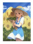 1girl absurdres bangs blue_bow blue_dress blue_sky blush bow brown_eyes brown_headwear clouds cloudy_sky collarbone day dress flower goback hat hat_bow highres holding holding_flower idolmaster idolmaster_cinderella_girls light_brown_hair long_hair morikubo_nono outdoors parted_lips red_ribbon ribbon ribbon-trimmed_shirt ribbon_trim shirt short_sleeves sky sleeveless sleeveless_dress solo sunflower white_shirt yellow_flower