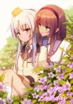 2girls angel_beats! bangs black_hairband blunt_bangs book brooch brown_hair caisena crown flower green_eyes hairband happy_birthday jewelry long_hair long_sleeves looking_at_another multiple_girls open_book outdoors school_uniform silver_hair sitting socks tenshi_(angel_beats!) white_sky yellow_eyes yuri_(angel_beats!)
