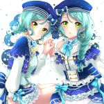 2girls alternate_hairstyle aqua_hair bang_dream! beads blue_headwear blue_skirt bow braid brooch capelet closed_mouth constellation_hair_ornament constellation_print crescent crescent_earrings earrings frills green_eyes hair_bow hair_ornament hairclip hand_up hat hat_bow highres hikawa_hina hikawa_sayo holding_hands idol interlocked_fingers jewelry long_hair long_sleeves looking_at_viewer multiple_girls parted_lips pearl_(gemstone) ribbon shirt siblings single_braid siratama0629 sisters sitting skirt smile sparkle star star_earrings starry_background striped striped_ribbon twin_braids twins vest white_background white_shirt