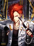 1boy artist_name black_gloves black_shirt chain chain_necklace copyright_request fingerless_gloves gloves hair_over_one_eye holding holding_knife index_finger_raised indoors jacket knife looking_at_viewer male_focus red_eyes redhead shirt solo standing sysen white_jacket