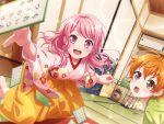bang_dream! blush kimono maruyama_aya pink_eyes pink_hair short_hair smile