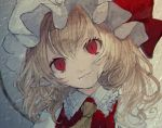 1girl ascot bangs blonde_hair bow commentary_request eyebrows_visible_through_hair fang fang_out flandre_scarlet frilled_shirt_collar frills grey_background hair_between_eyes hat hat_bow head_tilt looking_at_viewer mob_cap mochacot pointy_ears portrait puffy_short_sleeves puffy_sleeves red_bow red_eyes red_vest shirt short_hair short_sleeves slit_pupils smile solo touhou vest white_headwear white_shirt yellow_neckwear