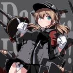 1girl 547th_sy anchor_hair_ornament aqua_eyes background_text bangs black_skirt blonde_hair blush breasts clenched_hand dated eyebrows_visible_through_hair german_text gloves hair_ornament hat highres iron_cross kantai_collection long_sleeves low_twintails military military_hat military_uniform panties peaked_cap pleated_skirt prinz_eugen_(kantai_collection) rigging signature skirt smile solo twintails underwear uniform white_gloves white_panties