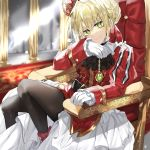 1girl absurdres ahoge bangs black_legwear blonde_hair braid breasts chair commentary dress eyebrows_visible_through_hair fate/grand_order fate_(series) gem gloves green_eyes hair_between_eyes highres huge_filesize kanniepan long_sleeves looking_at_viewer medium_breasts nero_claudius_(fate) nero_claudius_(fate)_(all) pantyhose ribbon short_hair sitting smile solo white_gloves