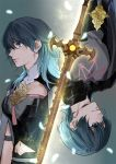 1boy 1girl bangs blue_eyes blue_hair byleth_(fire_emblem) byleth_(fire_emblem)_(female) byleth_(fire_emblem)_(male) cape closed_mouth commentary_request eyebrows_visible_through_hair fire_emblem fire_emblem:_three_houses hair_between_eyes long_hair navel profile short_hair sword tang_xinzi weapon
