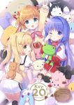 3girls :d ;o absurdres ahoge all_fours angel anniversary black_legwear blonde_hair blue_eyes blush brown_hair cat company_name crown dango_daikazoku dog green_eyes hair_intakes hair_ornament hair_ribbon highres holding holding_stuffed_animal hoshimame_mana kamikita_komari kanon key_(company) kneeling little_busters! long_sleeves looking_at_viewer minase_nayuki multiple_girls one_eye_closed open_mouth purple_hair red_ribbon ribbon short_sleeves short_twintails smile star star_hair_ornament stuffed_animal stuffed_bird stuffed_boar stuffed_bunny stuffed_dinosaur stuffed_frog stuffed_toy summer_pockets tearing_up thigh-highs tongue tongue_out tsumugi_wenders twintails v violet_eyes white_cat x_hair_ornament yellow_cat younger