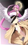 1girl absurdres ahoge angel_wings blush breast_hold breasts bridal_gauntlets brown_eyes commentary_request crop_top cross evil_smile feathered_wings hair_between_eyes halo highres jibril_(no_game_no_life) large_breasts long_hair looking_at_viewer low_wings magic_circle midriff mr.bong9s navel no_game_no_life open_mouth pink_hair single_thighhigh smile solo symbol-shaped_pupils tattoo thigh-highs very_long_hair white_wings wing_ears wings