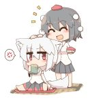 2girls :d ^_^ anger_vein animal_ear_fluff animal_ears bare_legs black_hair blush chibi closed_eyes cup cushion detached_sleeves drinking hair_between_eyes hat hat_removed headwear_removed inubashiri_momiji jitome motion_lines multiple_girls ooyama_bokuchi open_mouth petting pleated_skirt pom_pom_(clothes) red_eyes shameimaru_aya short_hair simple_background sitting skirt smile spoken_anger_vein spread_legs tail tatami tokin_hat touhou white_background white_hair wolf_ears wolf_tail yunomi zabuton