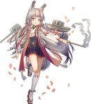 1girl anchor animal_ears arm_at_side azur_lane bangs bell black_hakama black_skirt bright_pupils closed_mouth eyebrows flat_chest fox_ears fox_tail full_body gohei grey_hair hakama hakama_skirt haori high-waist_skirt holding japanese_clothes jingle_bell kamikaze_(azur_lane) kneehighs leg_up long_hair long_sleeves looking_away looking_to_the_side machinery multicolored_hair nontraditional_miko norizc official_art orange_eyes petals redhead ribbon rope shimenawa skirt smile solo streaked_hair tabi tachi-e tail tongue tongue_out torpedo transparent_background turret two-tone_hair very_long_hair white_legwear white_pupils wide_sleeves