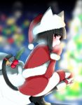 1girl animal_ears bangs bell black_footwear black_hair black_sky blunt_bangs blunt_ends blurry blurry_background bob_cut boots capelet cat_ears cat_tail commentary depth_of_field dress eyepatch from_side fur-trimmed_boots fur-trimmed_capelet fur_trim hat holly kuchinashi_(not_on_shana) light_particles looking_at_viewer night not_on_shana original outdoors red_capelet red_dress red_eyes red_headwear red_legwear red_mittens sack santa_hat short_dress short_hair solo squatting striped striped_legwear tail tail_bell thigh-highs