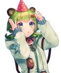 1girl animal_ear_fluff animal_ears animare bangs bbbannooo bear_ears bear_hair_ornament blush braid collarbone green_eyes green_hair green_hoodie hair_ornament hairclip hat hinokuma_ran hood hood_down hoodie long_sleeves looking_up medium_hair parted_lips party_hat solo transparent_background twin_braids upper_body virtual_youtuber zipper zipper_pull_tab