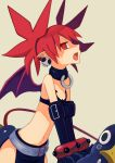 1girl absurdres back bat_wings belt black_gloves black_legwear black_skirt collar demon_girl demon_tail demon_wings disgaea earrings elbow_gloves etna flat_chest gloves highres jewelry loincloth makai_senki_disgaea mini_wings open_mouth pointy_ears prinny red_eyes redhead skirt skull_earrings solo tail thigh-highs twintails wings