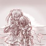 2girls bleeding blood gloves hair_ribbon injury japanese_clothes kantai_collection long_hair lowres monochrome multiple_girls nda-p_(threelow) ribbon sendai_(kantai_collection) short_hair shoulder_support twintails two_side_up zuikaku_(kantai_collection)
