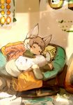 1boy animal animal_ears bad_id bad_pixiv_id black_legwear blush cat closed_eyes fox_boy fox_ears fox_tail highres light_brown_hair male_focus original shirokujira sleeping socks tail