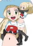 blonde_hair cosplay green_eyes hainchu highres lillie_(pokemon) long_hair midriff musashi_(pokemon) musashi_(pokemon)_(cosplay) navel open_mouth pokemon pokemon_(game) pokemon_sm ponytail smile stomach team_rocket_uniform white_headwear