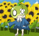 1girl dr._stone flower food fruit full_body helmet loli long_skirt long_sleeves looking_at_viewer melon sandals skirt solo standing suika_(dr.stone) sunflower watermelon