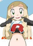 blonde_hair cosplay green_eyes hainchu highres lillie_(pokemon) long_hair midriff musashi_(pokemon) musashi_(pokemon)_(cosplay) navel open_mouth pokemon pokemon_(game) pokemon_sm smile stomach team_rocket_uniform white_headwear