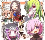 1boy 1other 3girls :d :t ^_^ bangs bare_shoulders black_leotard blue_legwear blush breasts brown_hair closed_eyes closed_mouth commentary_request cup disposable_cup enkidu_(fate/strange_fake) eyebrows_visible_through_hair fate/grand_order fate/strange_fake fate_(series) forehead gloves green_hair green_shirt hair_between_eyes hair_over_one_eye heterochromia holding holding_cup holding_spoon hood hood_up jako_(jakoo21) labcoat large_breasts leonardo_da_vinci_(fate/grand_order) leotard light_brown_hair long_hair looking_at_viewer mash_kyrielight medusa_(lancer)_(fate) multiple_girls open_clothes open_mouth parted_bangs pink_collar pink_hair pleated_skirt ponytail red_eyes red_skirt rider romani_archaman shirt skirt smile sparkle spoon sweat thigh-highs translation_request turn_pale violet_eyes white_gloves ||_||