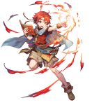 1boy azutarou belt book boots bracelet cape circlet ewan_(fire_emblem) fire fire_emblem fire_emblem:_the_sacred_stones fire_emblem_heroes full_body highres jewelry official_art open_mouth red_eyes redhead solo teeth