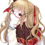 1girl alternate_hairstyle bang_dream! bangs blonde_hair blush brown_eyes chiyosama commentary dot_nose dress earrings eyebrows_visible_through_hair frilled_sleeves frills glasses hair_ornament hair_ribbon hairclip hand_on_own_cheek hand_on_own_face hand_on_own_head ichigaya_arisa jewelry long_hair long_sleeves looking_at_viewer parted_lips red_ribbon ribbon simple_background solo tassel upper_body wavy_hair white_background x_hair_ornament