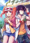 1girl :d baseball_cap black_hair black_pants blue_eyes blue_shorts blurry blurry_background blush casual collarbone couple day denim denim_shorts drinking_straw eyewear_on_headwear floating_hair gundam gundam_seed gundam_seed_destiny hat highres holding hood hood_down hooded_jacket jacket lens_flare long_hair long_sleeves looking_at_viewer meyrin_hawke open_clothes open_jacket open_mouth orange_shirt outdoors pants red_eyes redhead shinn_asuka shiny shiny_hair shirt short_shorts shorts sleeveless sleeveless_jacket sleeveless_shirt smile sunglasses twintails twitter_username white_headwear white_jacket white_shirt wristband yuuka_seisen