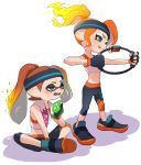 2girls cosplay fangs fiery_hair green_eyes headband highres inkling multiple_girls octarian octoling orange_hair pants ponytail protagonist_(ring_fit_adventure) protagonist_(ring_fit_adventure)_(cosplay) puchiman ring-con ring_fit_adventure shoes sidelocks simple_background sneakers splatoon_(series) sports_bra sweat towel towel_around_neck white_background wiping_sweat yoga_pants