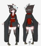 1girl absurdres animal_ears bandages bangs black_hair black_kimono black_legwear blunt_bangs blunt_ends blush bob_cut brown_footwear cat_ears commentary_request directional_arrow eyebrows_visible_through_hair eyepatch fox_mask from_behind grey_background highres japanese_clothes kimono kuchinashi_(not_on_shana) long_sleeves looking_at_viewer mask multiple_views not_on_shana obi original partial_commentary red_eyes sandals sash short_hair short_kimono simple_background skindentation standing thigh-highs translated very_long_sleeves wide_sleeves