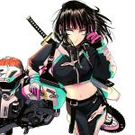1girl absurdres bangs biker_clothes black_hair blue_eyes breasts commentary cropped_jacket english_commentary facing_viewer gloves ground_vehicle headwear_removed helmet helmet_removed highres katana medium_breasts midriff motor_vehicle motorcycle motorcycle_helmet original pants sheath sheathed short_hair solo suspenders_hanging sword sword_behind_back vinne weapon white_background wind wind_lift