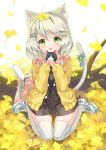 1girl :o animal animal_ears bag bell black_skirt blue_bow blush bow cat cat_ears cat_girl cat_tail commentary_request full_body ginkgo ginkgo_leaf grey_hair hair_bow highres holding holding_animal jacket jingle_bell juna kitten log long_hair long_sleeves looking_at_viewer low_twintails open_clothes open_jacket original parted_lips pink_bow school_bag shirt shoes sitting skirt sleeves_past_wrists solo tail tail_bell tail_bow tail_raised thigh-highs twintails wariza white_footwear white_legwear white_shirt yellow_jacket