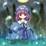 1girl bad_id full_moon hat hitodama long_sleeves moon nekonote_(nekono_paraiso) night open_mouth outdoors purple_hair red_eyes saigyouji_yuyuko sitting sleeves_past_wrists solo sotoba touhou triangular_headpiece