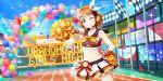 blush cheerleader love_live!_school_idol_festival_all_stars orange_hair red_eyes short_hair smile takami_chika wink