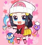1girl arm_up artist_name bag beanie black_eyes black_hair black_legwear black_shirt blue_eyes blush boots chibi dated drifloon duffel_bag full_body gen_4_pokemon hair_ornament hairclip hand_up happy hat hikari_(pokemon) holding holding_poke_ball knee_boots kneehighs long_hair looking_at_viewer miniskirt nago_celica open_mouth outstretched_arm pachirisu pink_background pink_footwear pink_skirt piplup poke_ball poke_ball_(generic) poke_ball_symbol poke_ball_theme pokemon pokemon_(creature) pokemon_(game) pokemon_dppt red_scarf scarf shiny shiny_hair shirt signature simple_background skirt sleeveless sleeveless_shirt smile solo_focus standing tied_hair white_headwear