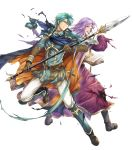 2boys armor armored_boots belt blue_eyes blue_hair book boots cape circlet ephraim_(fire_emblem) fire_emblem fire_emblem:_the_sacred_stones fire_emblem_heroes full_body gloves highres lyon_(fire_emblem) male_focus medium_hair multiple_boys official_art one_eye_closed open_book open_mouth polearm purple_hair spear teeth torn_clothes weapon yamada_koutarou
