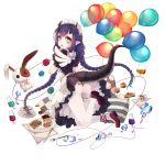 1girl ass balloon braid bubble cake cup dish dragon_girl dragon_horns dragon_tail eclair_(food) food fork glass highres horns kai-ri-sei_million_arthur knife long_hair looking_at_viewer looking_back maid million_arthur_(series) muffin official_art pillow pointy_ears puppet simple_background slit_pupils solo tail teacup wait white_background wings yarn yarn_ball