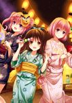 3girls :d bangs black_bow black_kimono blue_bow blush bow brown_eyes brown_hair candy_apple closed_mouth dango eyebrows_visible_through_hair fang festival floral_print flower food green_kimono hair_bow hair_flower hair_ornament holding japanese_clothes kimono long_hair long_sleeves looking_at_viewer mask mask_on_head momo_velia_deviluke multiple_girls nana_asta_deviluke night night_sky open_mouth outdoors pink_flower pink_hair pink_kimono print_kimono short_hair short_kimono signature sky smile star_(sky) starry_sky tied_hair to_love-ru twintails villyane violet_eyes wagashi yukata yuuki_mikan