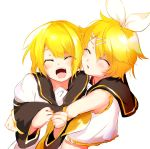 1boy 1girl bass_clef black_collar black_sleeves blonde_hair bow cheek-to-cheek closed_eyes closed_mouth collar crop_top detached_sleeves hair_ornament hairclip happy highres hug kagamine_len kagamine_rin light_blush nail_polish neckerchief necktie open_mouth oyamada_gamata sailor_collar school_uniform shirt short_hair short_sleeves siblings smile twins vocaloid white_bow white_shirt yellow_nails yellow_neckwear