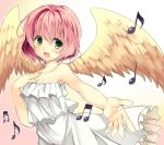 1girl bare_shoulders dress eighth_note eyebrows_visible_through_hair feathered_wings gradient gradient_background green_eyes harpy_(puyopuyo) musical_note open_mouth pink_hair puyopuyo reimin solo white_dress wings