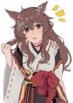 absurdres animal_ears brown_eyes brown_hair character_request copyright_request highres japanese_clothes kimono long_hair nana_(nana_yume87) tagme