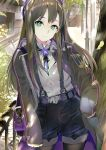 119 1girl bangs black_legwear black_ribbon black_shorts blue_eyes brown_hair closed_mouth coat contrapposto cowboy_shot day floating_hair grey_coat grey_shirt hand_in_pocket highres idolmaster idolmaster_cinderella_girls legwear_under_shorts long_hair looking_at_viewer neck_ribbon open_clothes open_coat outdoors pantyhose purple_belt ribbon shibuya_rin shiny shiny_hair shirt short_shorts shorts smile solo standing straight_hair suspender_shorts suspenders very_long_hair