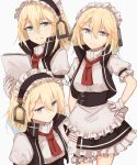 1girl apron blonde_hair blue_eyes commentary_request g36_(girls_frontline) girls_frontline gloves high_collar highres kashiyarrm maid maid_apron maid_headdress papers short_hair sleeveless sleeveless_jacket solo