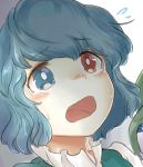 1girl bangs blue_eyes blue_hair blue_vest blush collared_blouse eyebrows_visible_through_hair gradient gradient_background heterochromia looking_up nervous open_mouth portrait red_eyes shiny shiny_hair short_hair solo sweatdrop tatara_kogasa tears touhou uisu_(noguchipint) vest wavy_eyes wavy_hair wavy_mouth